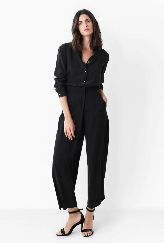 Pantalón culotte de mujer fluido en negro