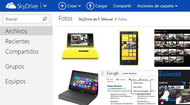 SkyDrive interfaz web
