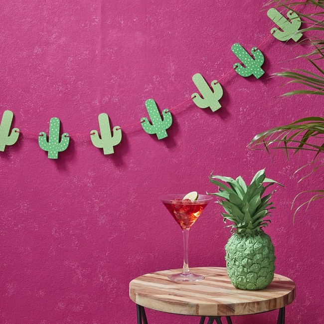 Wooden Cactus Bunting Hot Summer