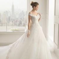 vestido novia de encaje y fajín de rosa clara