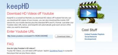 KeepHD, descarga los vídeos de alta calidad de YouTube