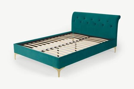 A2459d274fcc40ee925dad75db9c326c42abf862 Bedlin023blu Uk Linnell Double Bed Seafoam Blue Velvet Brass Ar3 2 Lb01 Ps