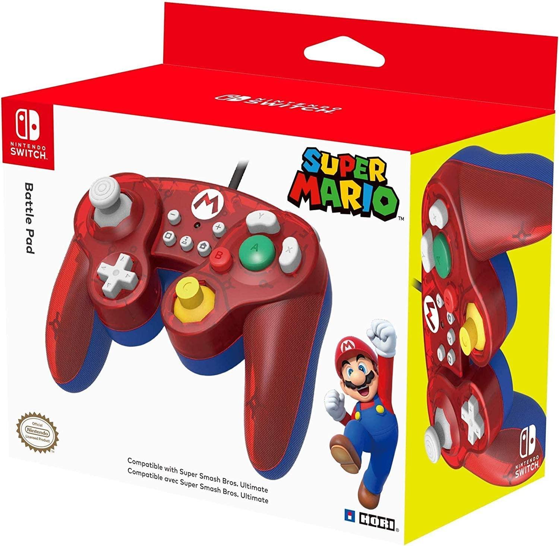 Control alámbrico HORI para Nitnendo Switch - Battle Pad con diseño de Mario Bros.