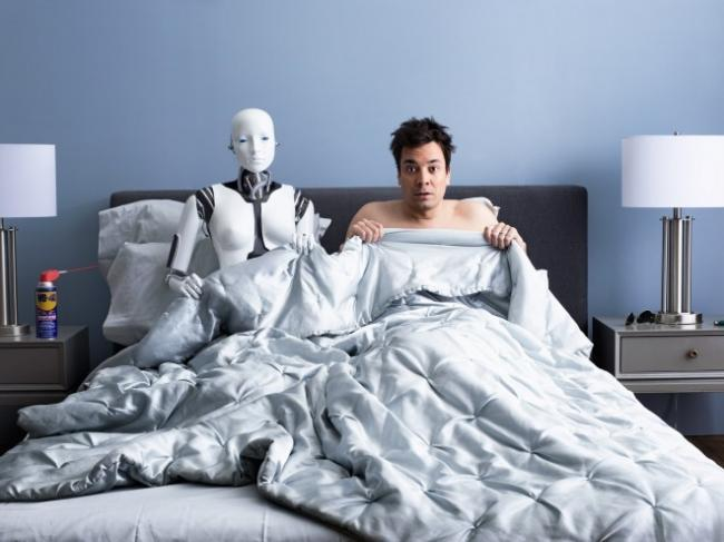 Robot en la cama