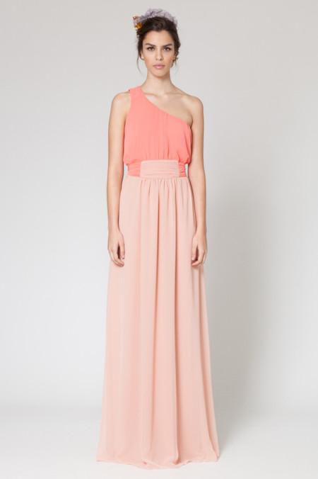 Vestido largo rosa pastel