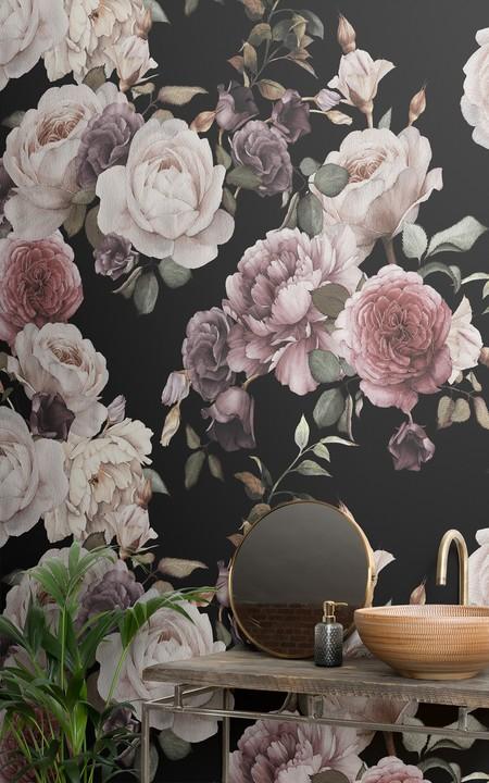 Mural De Pared Flores Rosas Y Moradas Fondo Oscuro Lifestyle Web