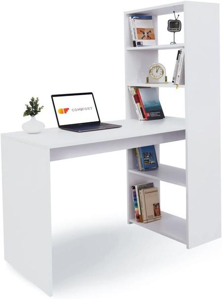 Mesa de escritorio con estantería