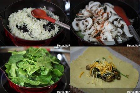 Chimichangas de espinacas y champiñones. Pasos