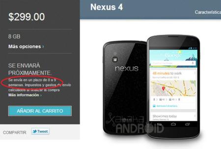 Los nuevos pedidos del Nexus 4 serán enviados en un plazo de uno o dos meses