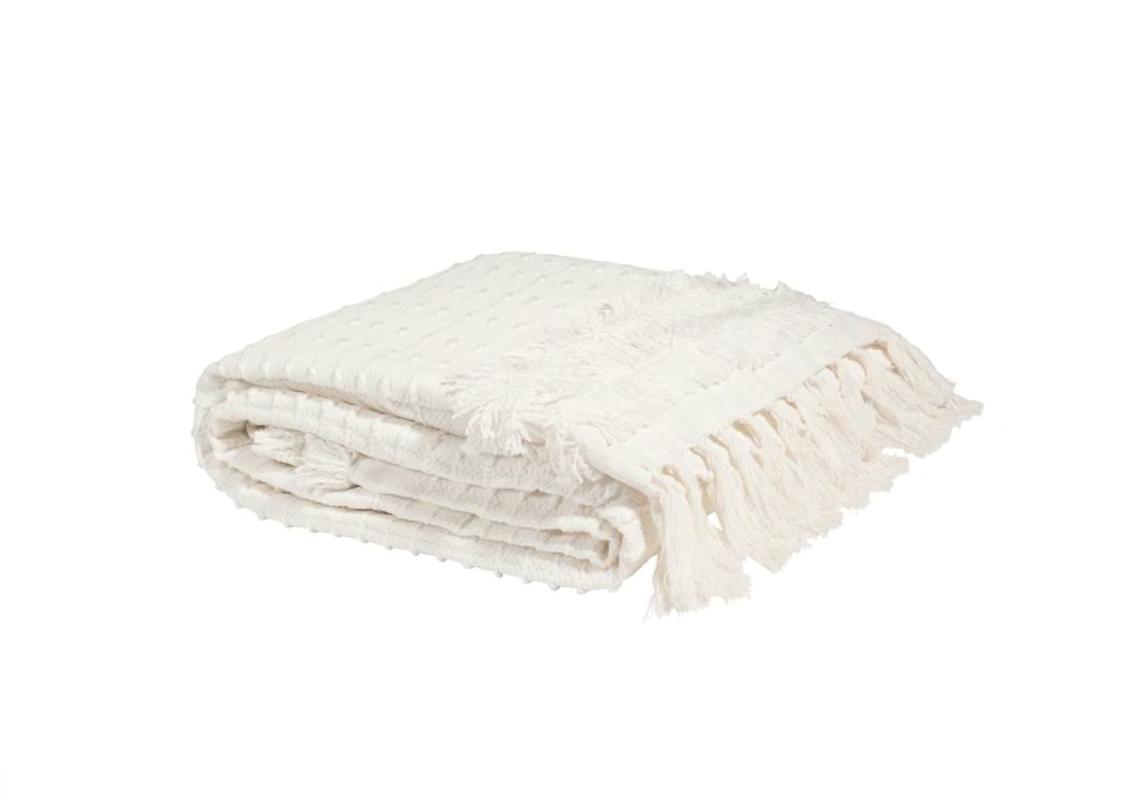 Manta de franjas de algodón blanco