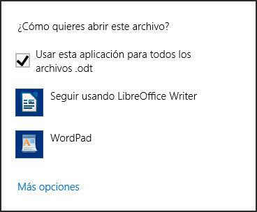 Opción elegir programa predeterminado en Windows 8