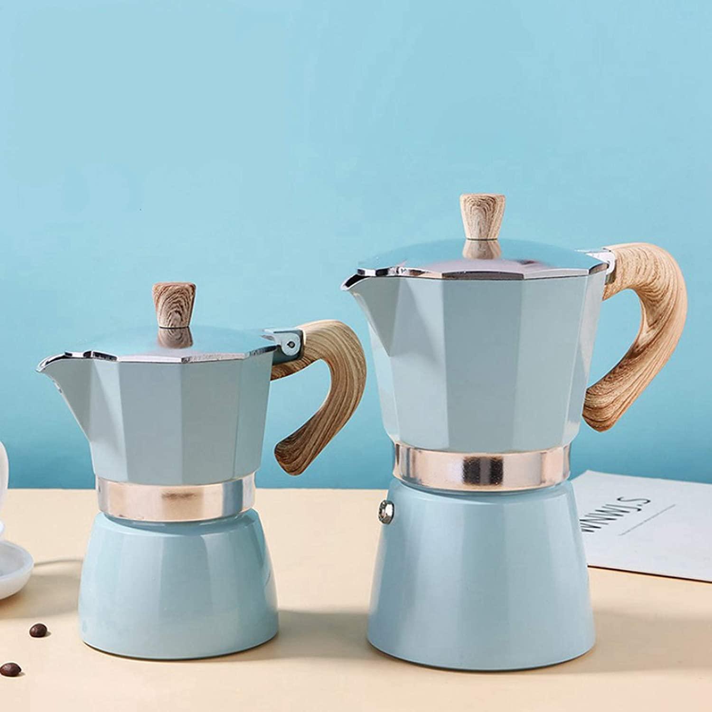 Baoblaze Cocina clásica cafetera Espresso cafetera Moka Olla fácil y Conveniente de Usar - Azul Lago 300ml