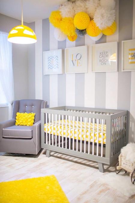 Habitaciones infantiles en gris y amarillo