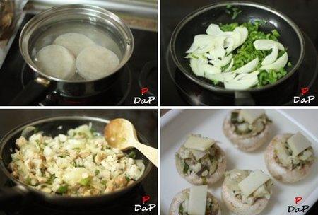 Paso a paso en la elaboración de la receta de champiñones rellenos de merluza con velouté de pescado