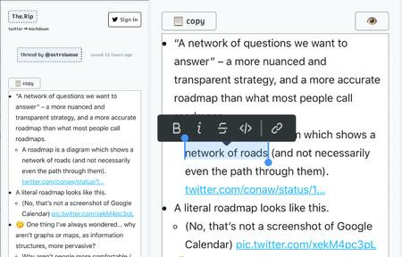 The.Rip: la herramienta para extraer contenido de Twitter y desenrollar hilos a formato Markdown automáticamente