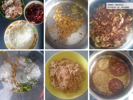 Preparacion Hamburguesa Hongos