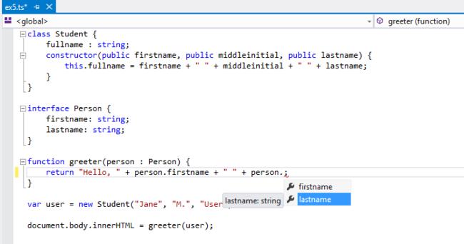 Ejemplo editando código TypeScript