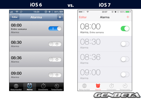 iOs 6 vs iOs 7 - alarma