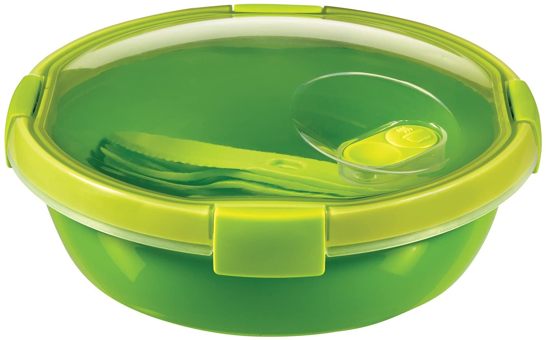 Curver - hermético Smart To Go Lunch Redondo 1,1L. - Apto para Microondas, Lavavajillas y Congelador - Con Cubiertos - Color Verde Lima