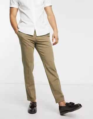 Pantalón tipo chino de corte slim color arena de Selected Homme