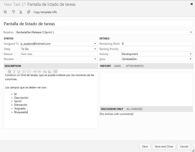 Ficha de tarea en TFS Preview