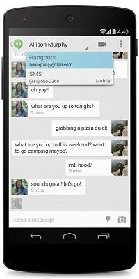 Hangouts con SMS integrados