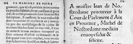 Tratado de confituras de Nostredamus 1552