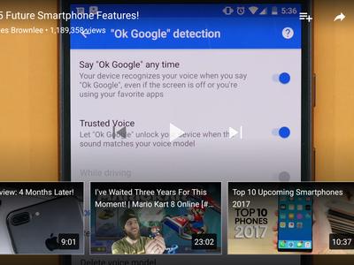 YouTube para Android comienza a mostrar sugerencias en la reproducción de vídeos a pantalla completa