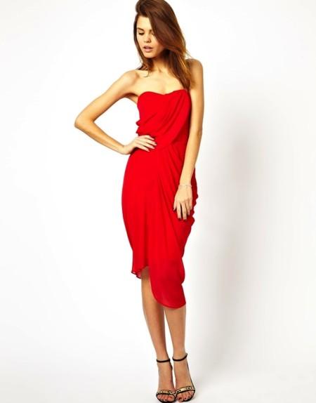 vestido drapeado rojo asos boda rebajas