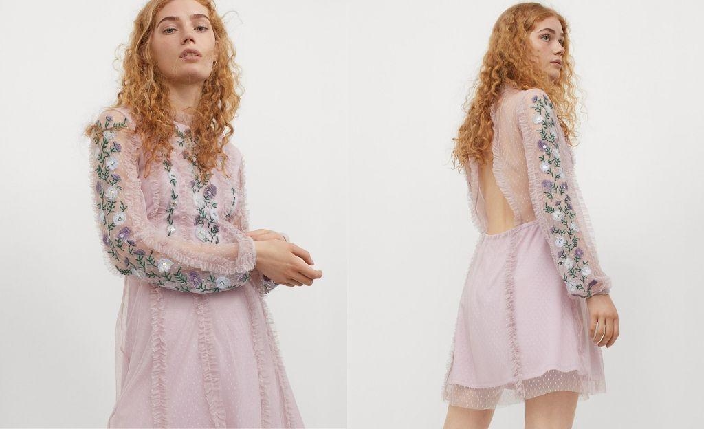 Vestido de malla bordado