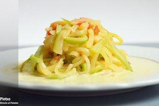 Espaguetis de calabacines con su crema. Receta