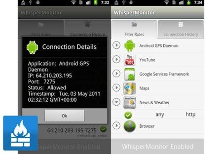 Whisper Monitor, un cortafuegos para controlar nuestro Android