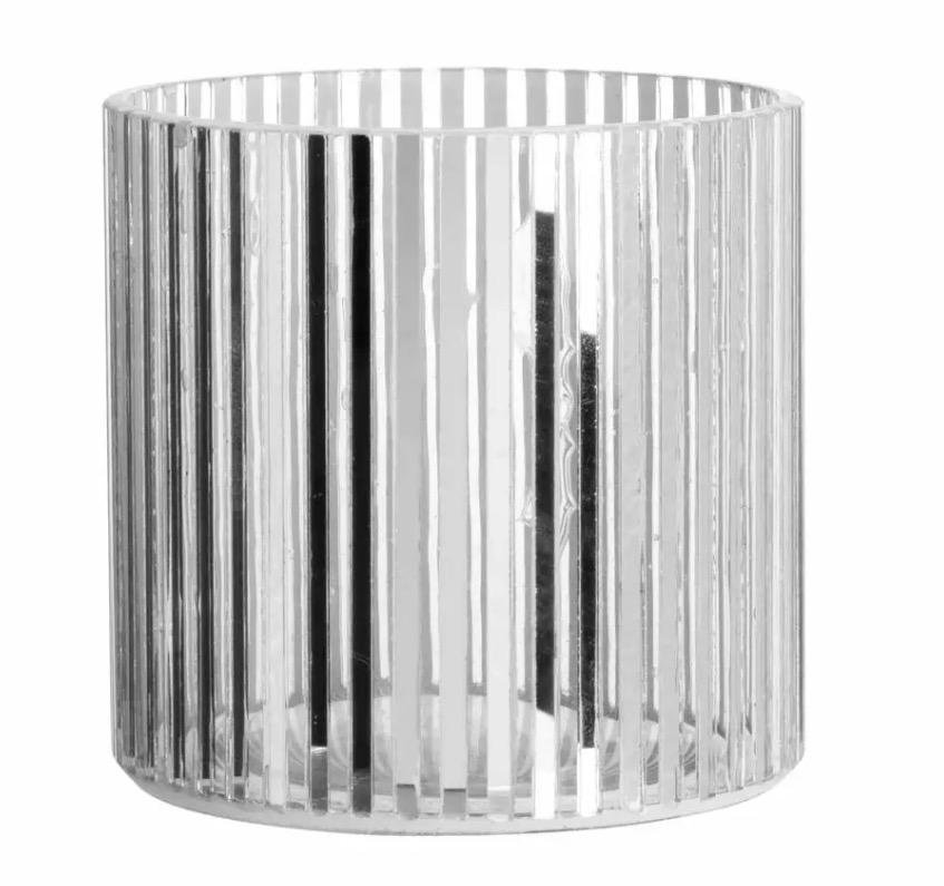 Portavelas de cristal estriado plateado y transparente