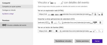 Compartir calendario de Outlook.com