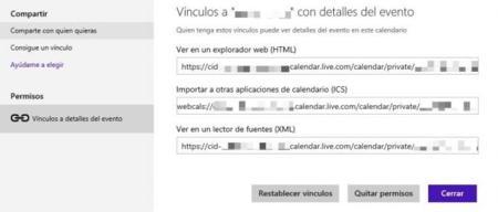 Compartir calendario de Outlook.com