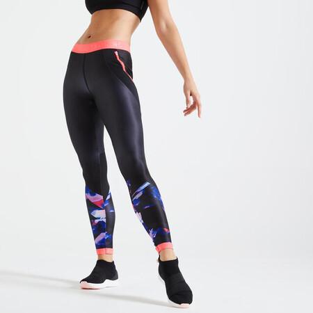 Mallas Leggings Fitness Mujer Efecto Vientre Plano Domyos Fti 500 Negro Rosa