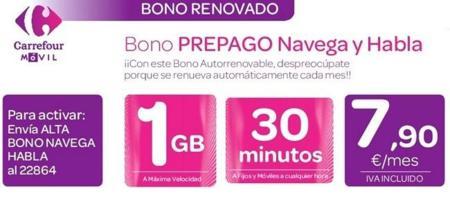 Carrefour Móvil rebaja su bono prepago, ahora con 30 minutos y 1 GB por 7.90 euros