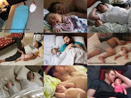 Papá, ¿ha heredado tu bebé tu forma de dormir?
