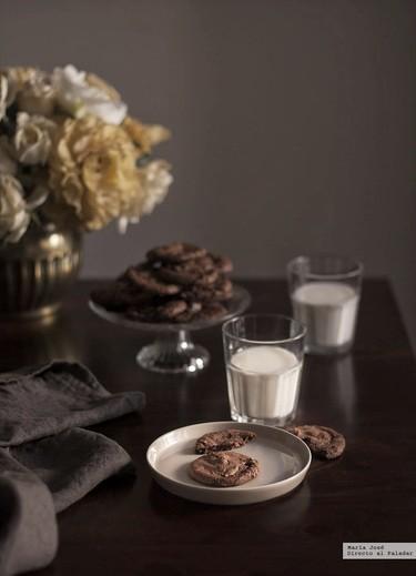 Galletas de leche condensada y chocolate al caramelo sin huevo. Receta con y sin Thermomix