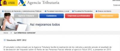 La AEAT pone a disposición del contribuyente el simulador de Renta 2012