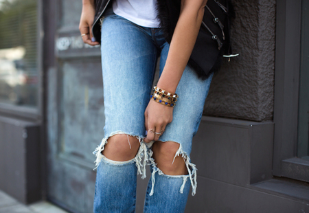 Aimee Song Marble Bracelets Ripped Jeans
