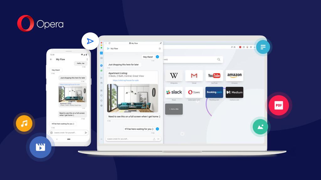Opera 60 para Android™ añade sincronización por QR y el envío de apuntes y archivos(datos) entre dispositivos
