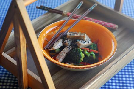 Salteado de verduras son secreto de cerdo. Foto: Beatriz Torija