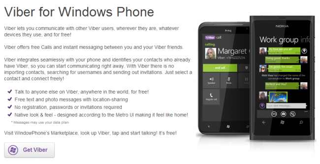 Viber en Windows Phone 8