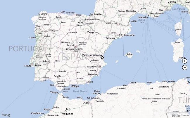 Aspecto principal de Bing Mapas