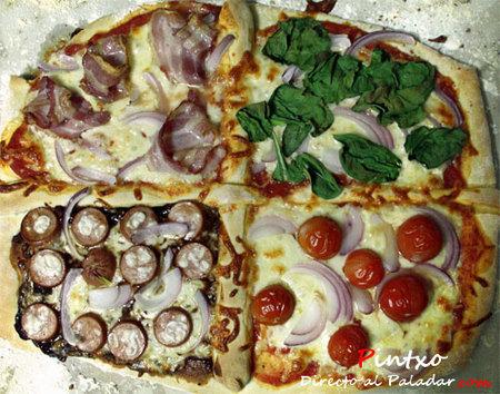 Pizza quattro gusti. Receta