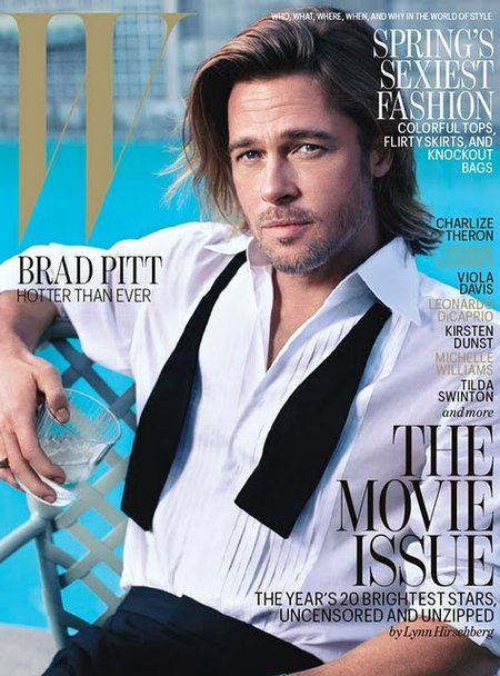 Brad Pitt, candidato al Oscar como mejor actor, en la portada de W Magazine