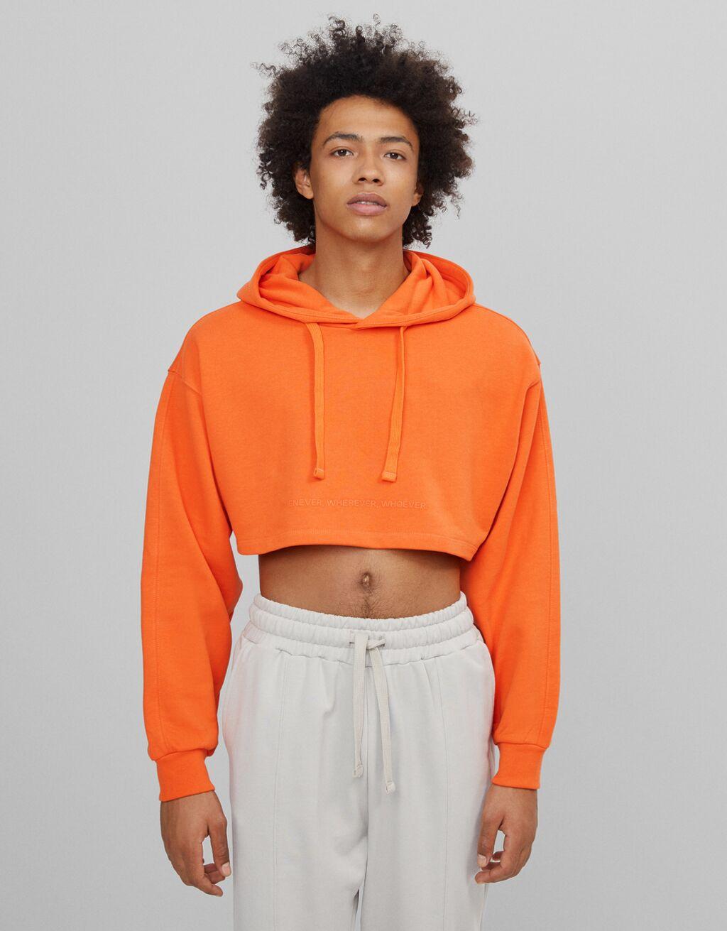Sudadera cropped B3 Project color naranja
