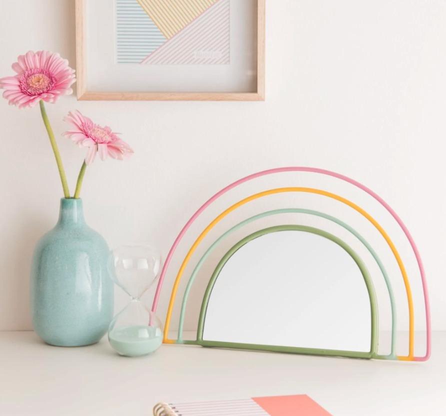Espejo arcoiris de metal 34x22