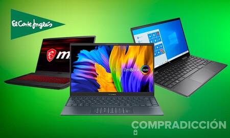 Estos 11 portátiles ASUS, HP, Lenovo y MSI llevan rebajas de entre 50 y 400 euros esta semana en rebajados El Corte Inglés